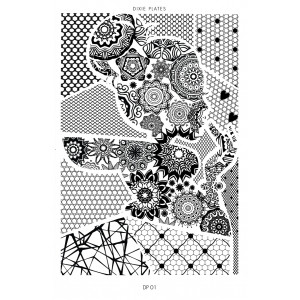 Dixie Plate DP01 - Stamping Plate for Nail Stamping and Nail Art - Dots, Honeycomb, Lines, Manadalas