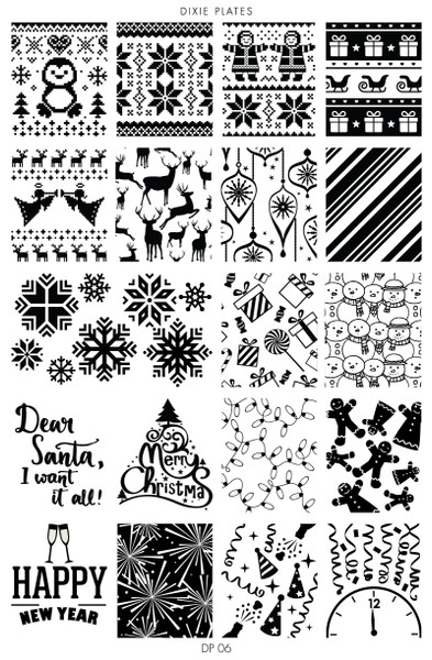 Dixie Plates DP06 Christmas nail stamping plate. Available at www.lanternandwren.com.