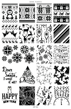 Dixie Plates Christmas nail stamping plate. Available at www.lanternandwren.com.