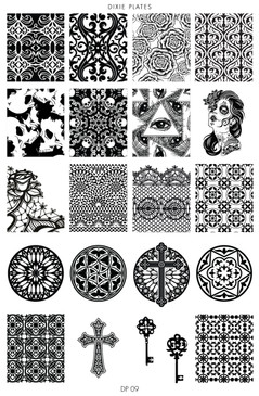 Dixie Plate DP09 - Gothic, Baroque and Cross Designs Stamping Plate for Nail Stamping and Nail Art