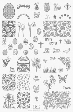 Yay Spring - UberChic Nail Stamping Plate - Easter, Flowers, Butterflies, Bunnies Stamping Plate