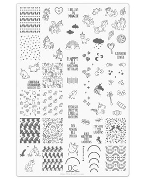 Uber Chic Unicorn Love nail stamping plate. A stamping plate full of unicorn images! Get yours at www.lanternandwren.com.