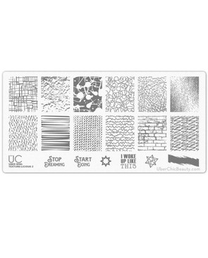Texture-licious 02 - Uber Mini Nail Stamp Plate - Textures for Nail Stamping Design