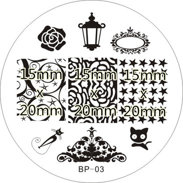 Born Pretty BP03 - Black Cat and  Rose Nail Art Stamping Plate