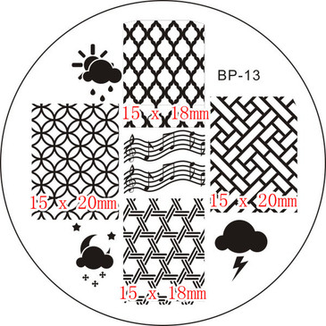 Born Pretty BP13 - Weather, Music Nail Art Stamping Plate - Clouds, Sun, Rain