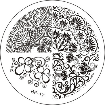 Born Pretty BP17 - Flower Nail Art Stamping Plate - Repeating Floral Patterns for Nail Art Design