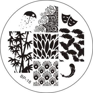 Born Pretty BP18 - Leaf and Feather Nail Stamping Plate - Bamboo, Feathers, Drama Mask