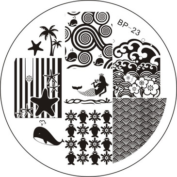 Born Pretty BP23 - Ocean Nail Stamping Plate - Mermaid, Whale, Palm Tree, Waves