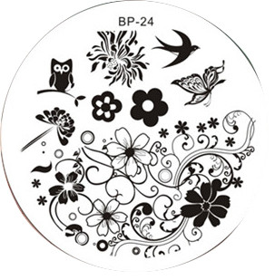 Born Pretty BP24 - Spring Nail Stamping Plate - Bird, Butterfly, Flower Images