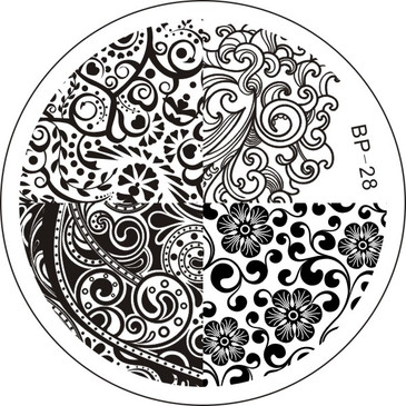 Born Pretty BP28 - Abstract Nail Art Stamping Plate - Repeating Abstract and Floral Patterns