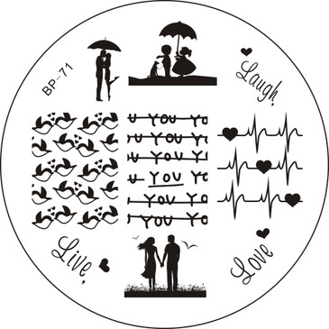 Born Pretty BP71 - Love Nail Stamping Plate - Love, Laugh Love, Heartbeat Images