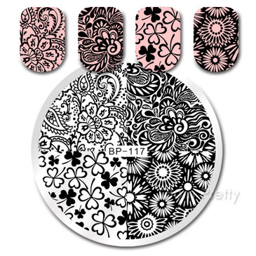 Born Pretty BP117 Stamping Plate - Daisies, Clovers, Floral Nail Stamping Plate