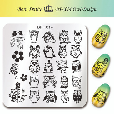 Born Pretty BP-X14 Stamping Plate - Owl Designs Nail Stamping Plate