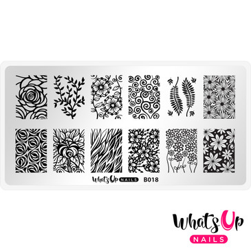 Whats Up Nails - B018 Fields of Flowers - Mini Nail Stamping Plate