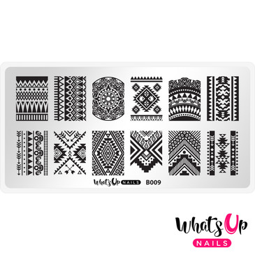 Whats Up Nails - B009 Lost in Aztec - Mini Nail Stamping Plate