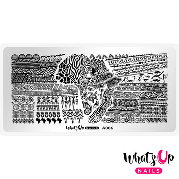 Whats Up Nails - A006 Walk on the Wild Side - Mini Nail Stamping Plate