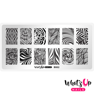 Whats Up Nails - B002 Water Marble to Perfection - Mini Nail Stamping Plate