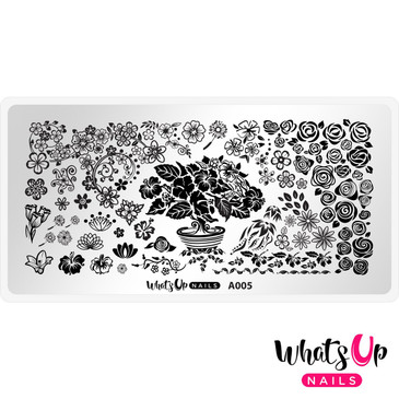 Whats Up Nails - A005 Floral Paradise - Mini Nail Stamping Plate