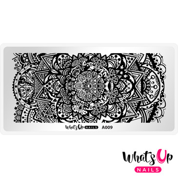 Whats Up Nails - A009 Mandala Universe - Mini Nail Stamping Plate