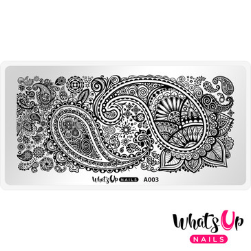 Whats Up Nails - A003 Paisley Buffet - Mini Nail Stamping Plate