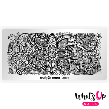 Whats Up Nails - A001 Majestic Flowers - Mini Nail Stamping Plate
