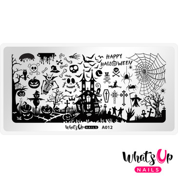 Whats Up Nails - A012 Happy Halloween - Mini Nail Stamping Plate