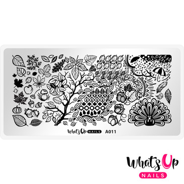 Whats Up Nails - A011 Leaves Are Fall-ing - Mini Nail Stamping Plate