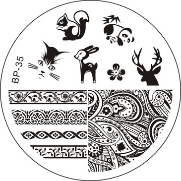 Born Pretty BP35 Stamping Plate - Woodland Animals, Paisley Stamping Plate