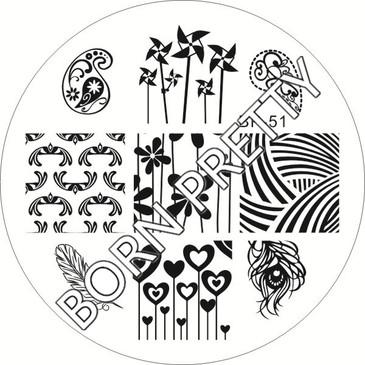 Born Pretty BP51 Stamping Plate - Pinwheels Stamping Plate