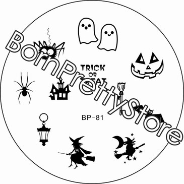 Born Pretty BP81 Halloween nail stamping plate. Get yours without the wait, already in the USA at www.lanternandwren.com.