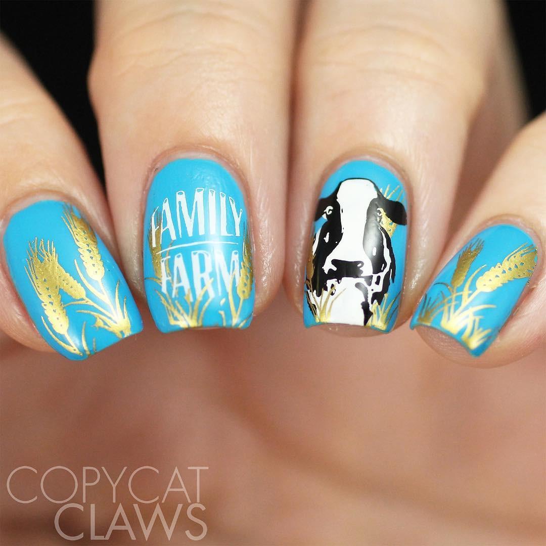 Uber Chic Farm Fresh nail stamping plate. www.lanternandwren.com. Mani by @copycatclaws.
