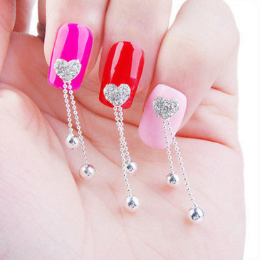 Rhinestone Heart Nail Charms - Set of 3 Dangling Heart Nail Decorations