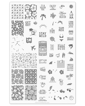 Uber Chic Vacation Mode nail stamping plate, www.lanternandwren.com