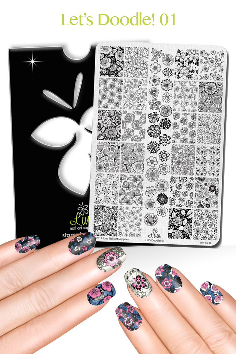 Let's Doodle 01 nail stamping plate from Lina nail art supplies.  Free USA shipping at Lantern & Wren, www.lanternandwren.com.