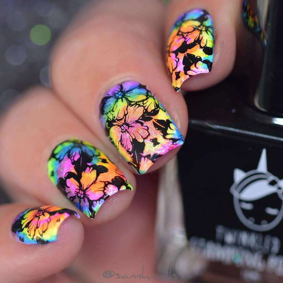 Beautiful multi colored mani using let's Doodle 01 nail stamping plate from Lina nail art supplies.  Free USA shipping at Lantern & Wren, www.lanternandwren.com.
