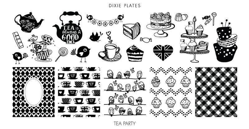 Dixie Plates Tea Party Mini Nail Stamping Plate