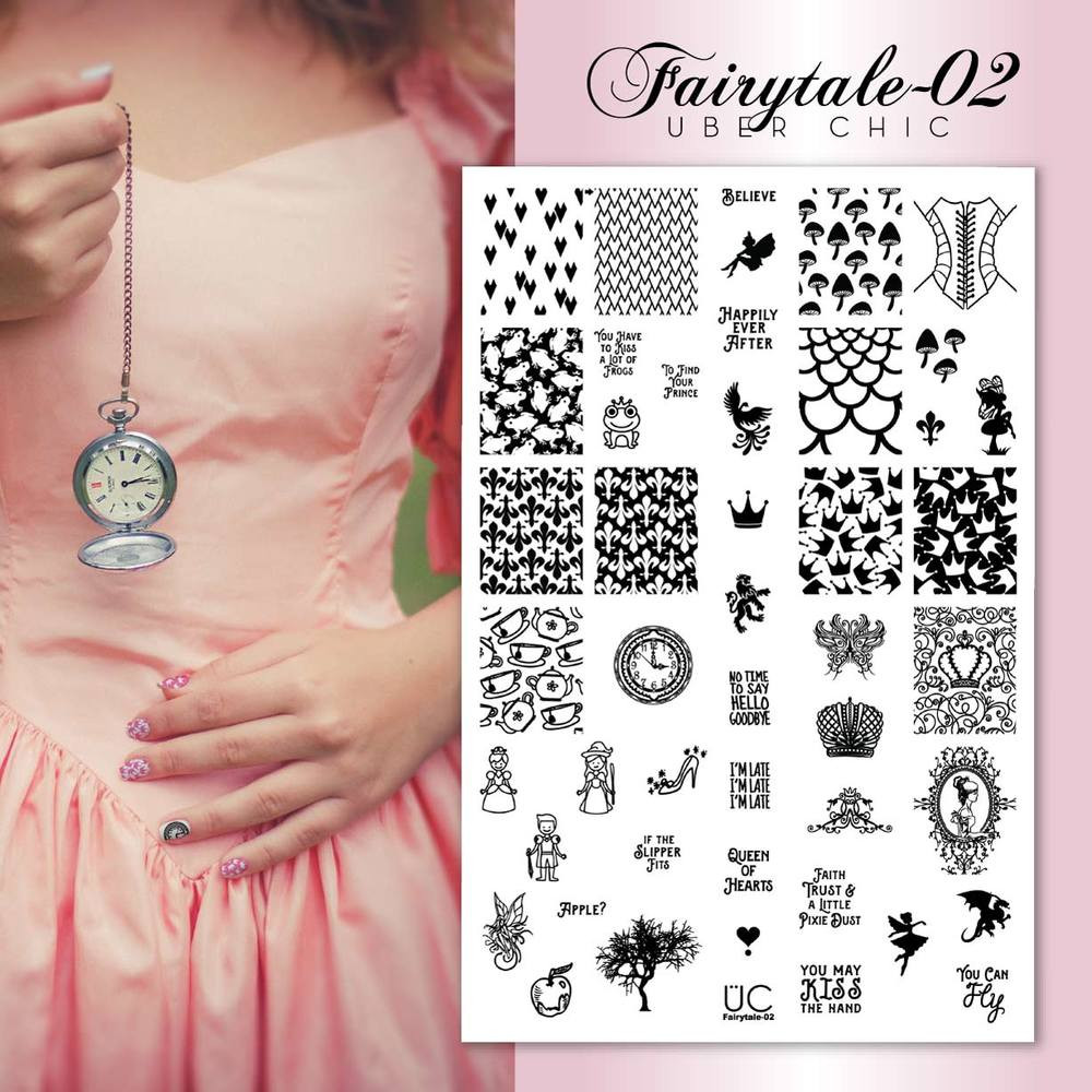 Uber Chic Beauty Fairytale 02 nail stamping plate, get yours now at www.lanternandwren.com