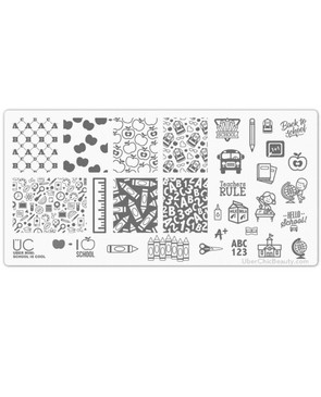 Uber Chic School is Cool mini nail stamping plate. www.lanternandwren.com