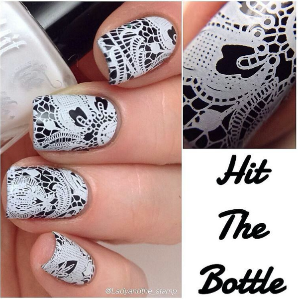 Hit the Bottle Stamping Polish Snowed In, in the USA at www.lanternandwren.com