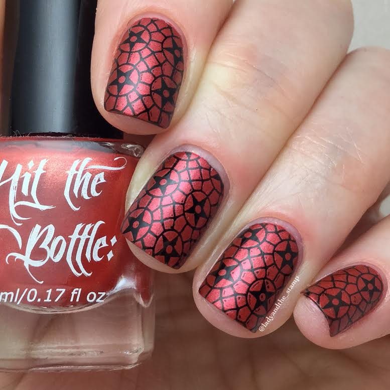 Hit the Bottle Drop Red Gorgeous nail stamping polish, in the USA on www.lanternandwren.com. Mani photo by @ladyandthe_stamp.