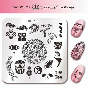 Born Pretty BP-X02 China design nail stamping plate. Get yours without the wait, already in the USA at www.lanternandwren.com.
