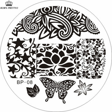 Born Pretty BP08 nail stamping plate. Get yours without the wait, already in the USA at www.lanternandwren.com.