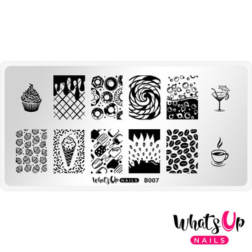 What's Up Nails Sugar High Stamping Plate, B007. Available at www.lanternandwren.com. Free USA shipping available.