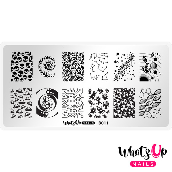 Whats Up Nails Intergalactic Encounters nail stamping plate, B011. Available at www.lanternandwren.com.