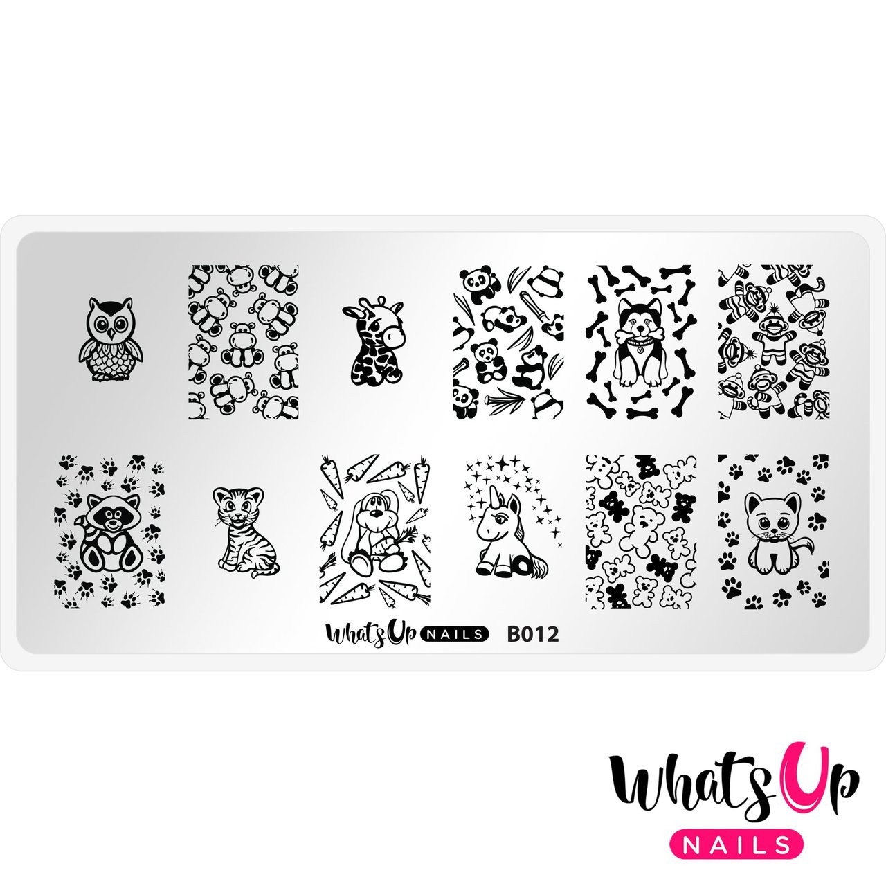Whats Up Nails Plushie Pals nail stamping plate, B012. Available at www.lanternandwren.com.