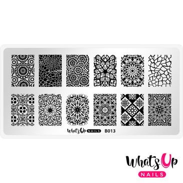 Whats Up Nails Glass Masterpiece nail stamping plate, B013. Available at www.lanternandwren.com.