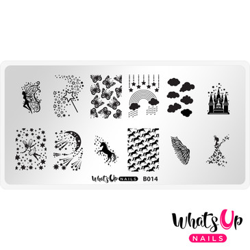 Whats Up Nails Magical Playground nail stamping plate, B014. Available at www.lanternandwren.com.