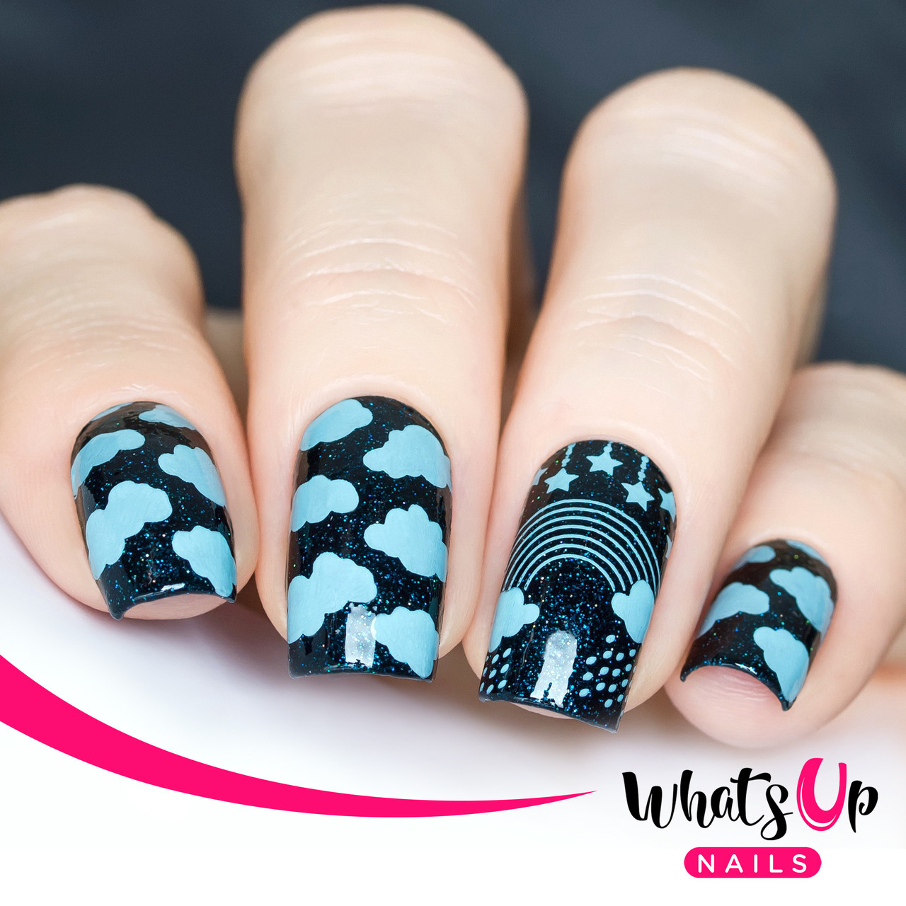 Whats Up Nails B014, Magical Playground nail stamping plate.  Available at www.lanternandwren.com.