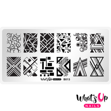 Whats Up Nails B015, Geo-Radical nail stamping plate.  Available at www.lanternandwren.com.