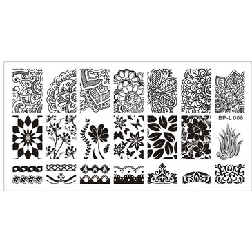 Born Pretty BPL-008 nail stamping plate. Get yours in the USA at www.lanternandwren.com.